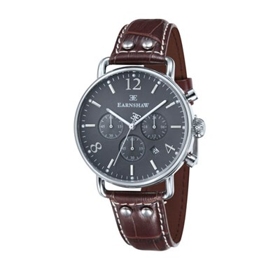 Thomas Earnshaw Gents Investigator Chronograph Watch with Genuine Leather Strap
