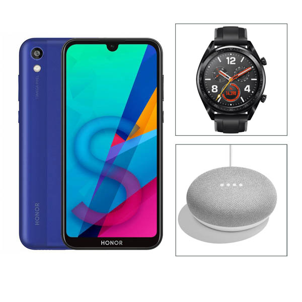 Honor Smart Tech Bundle - 1 x Honor 8S Smartphone Blue 1 x Huawei Watch GT FTN-B19 1 x Google Home Mini No Colour