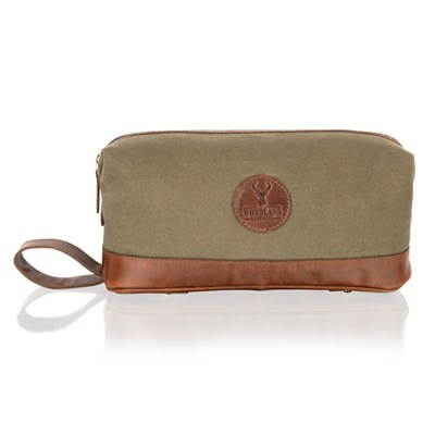Woodland Leather Canvas Washbag