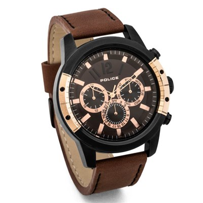 Police Gents Scrambler Watch on Genuine Leather Strap