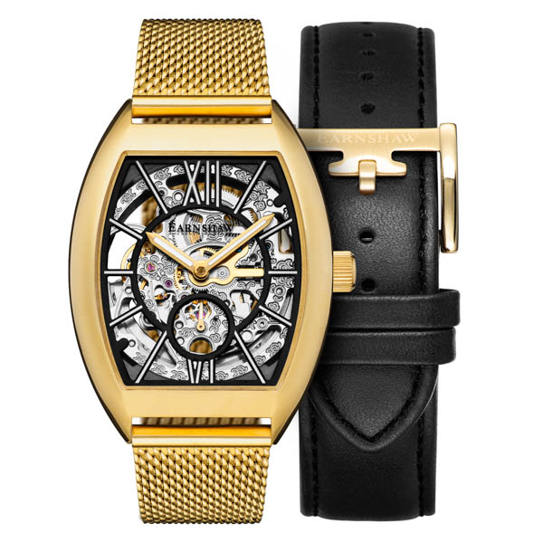 Thomas Earnshaw Gents Ltd Ed Bloomsbury Automatic Skeleton Watch on Milanese Bracelet and Extra Strap Black/Gold