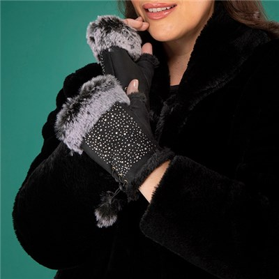 Faux Suede Fingerless Gloves with Diamante Detail