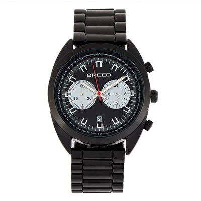 Breed Gent's Racer Chronograph Watch with Stainless Steel Bracelet