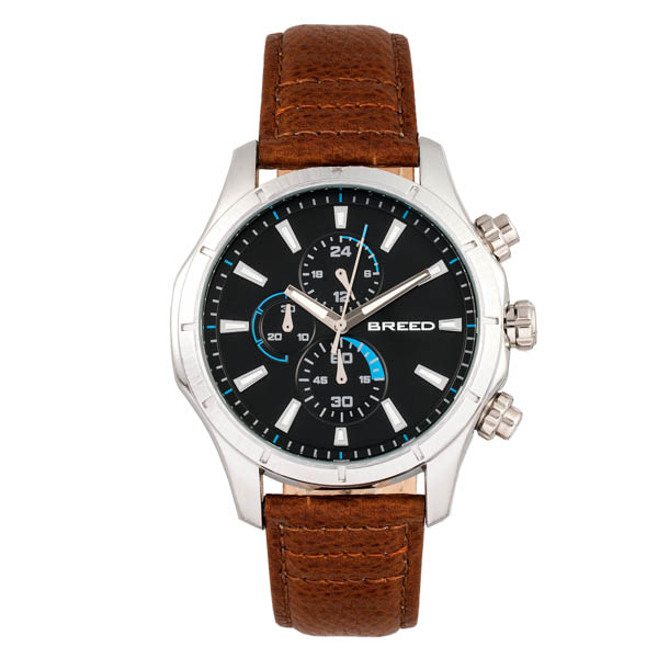 Breed Gent's Lacroix Chronograph Watch with Genuine Leather Strap Brown