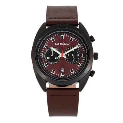 Breed Gent's Racer Chronograph Watch with Genuine Leather Strap