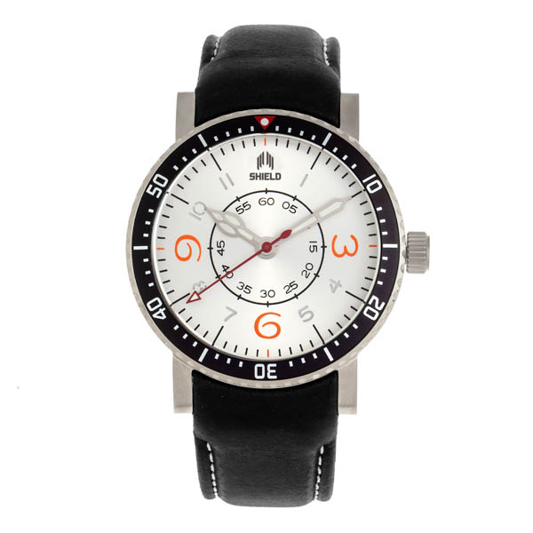 Shield Gents Gilliam Divers Watch with Genuine Leather Strap White