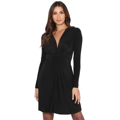 KRISP Long Sleeve Midi Party Dress A-Line Ruched Gathered V-Neck Knot Front Cocktail