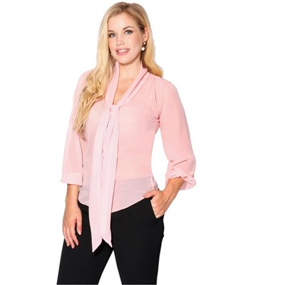 KRISP Womens Pussy Bow Chiffon Blouse Sheer Office Long Sleeve Top Shirt