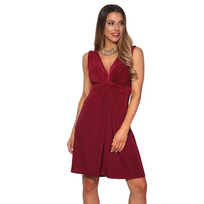 KRISP Womens Basic Sleeveless V-Neck Knot Front Self Tie Party Casual Work Dress