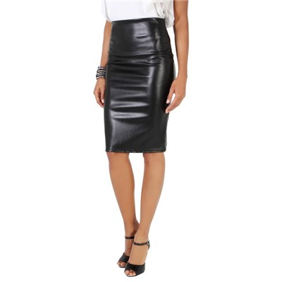 KRISP Womens High Waist PU Leather Pencil Skirt Bodycon Fit Office Party Clubbing