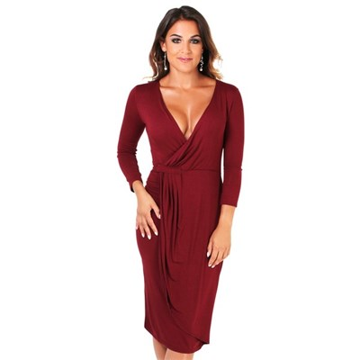 KRISP Cross Over Jersey Midi Dress 3/4 Sleeve Knee Long Party Bodycon V-Neck