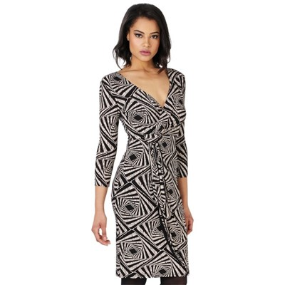 KRISP Cross Over Printed Midi Dress