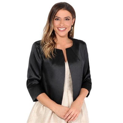 KRISP Tailored Vintage Jacket Bolero Shrug Open Crop Blazer Party Evening