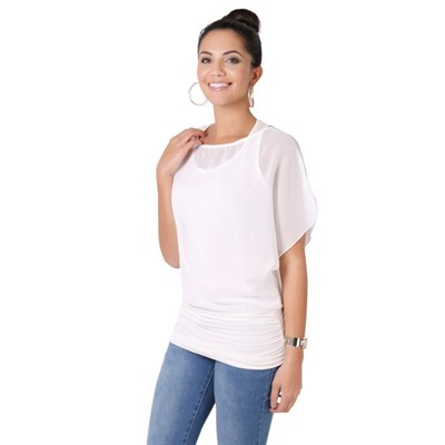 KRISP Womens Scoop Neck Blouse Baggy Batwing T Shirt Top Ladies Oversized Chiffon 2in1