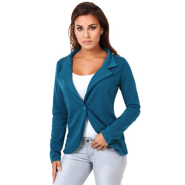 KRISP One Button Blazer Suit Top Jacket Casual Smart Ladies Jersey Office Work Coat 16 Blue