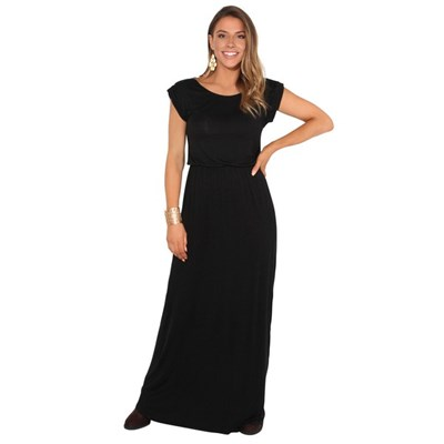 KRISP Dress Ladies Plain Maxi Crew Neck Stretch Loose Long Turn Up Sleeve Tog
