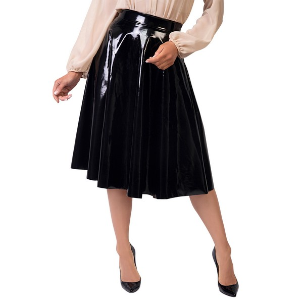 KRISP Faux Leather Skirt Pleated PVC Midi Flared A Line Full Swing High Waist 16 Shiny
