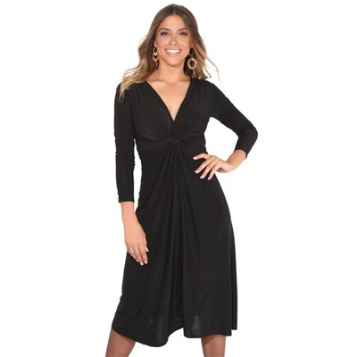 KRISP V Neck Midi Dress Knee Long A Line Skirt 3/4 Sleeve Knot Party Work