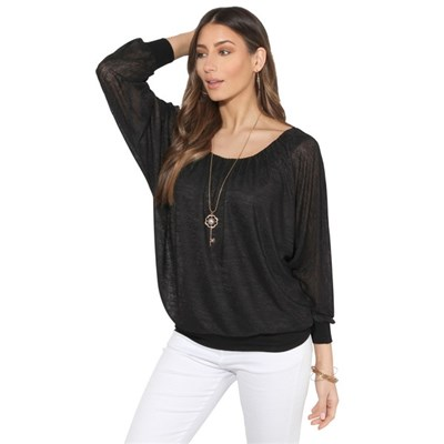 KRISP Slub Chiffon Batwing Top with Necklace