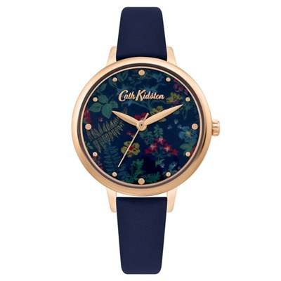 Cath Kidston Ladies' Navy Blue Dial Watch with Polka Dot Leather Strap