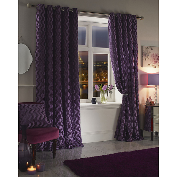 Katie Chenille Velvet Jacquard Lined Eyelet Curtains - 66 Inches Heather