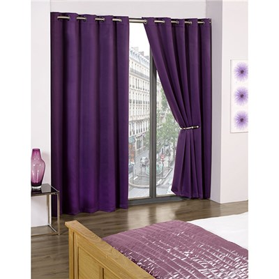 Cali Blackout Contemporary Eyelet Curtains - 46 Inches