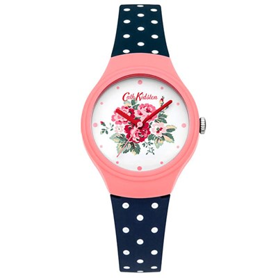 Cath Kidston Ladies' Spray Flowers Watch with Navy Polka Dot Silicone Strap