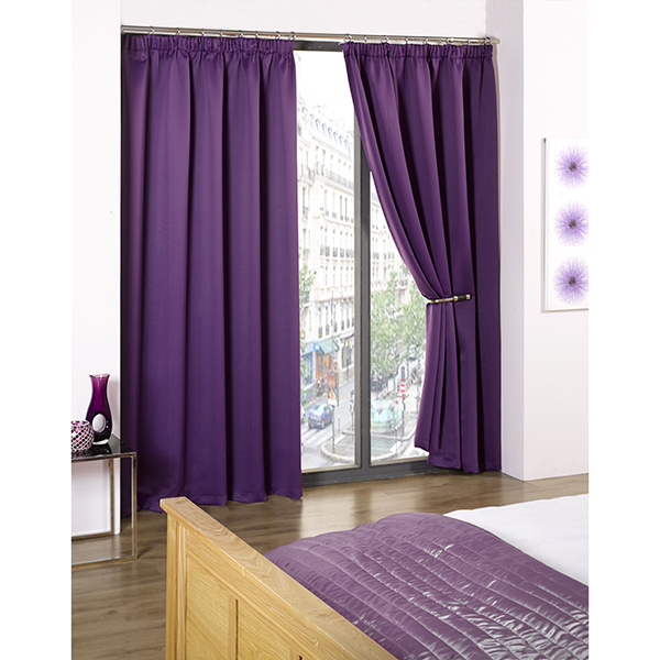 Cali Blackout Contemporary Pencil Pleat Tape Header Curtains - 46 Inches Amethyst