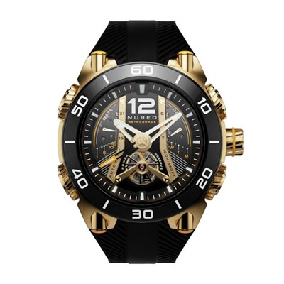 Nubeo Gents Ltd Ed Deimos Martian Meteorite Automatic Open Heart Watch with Silicone Strap