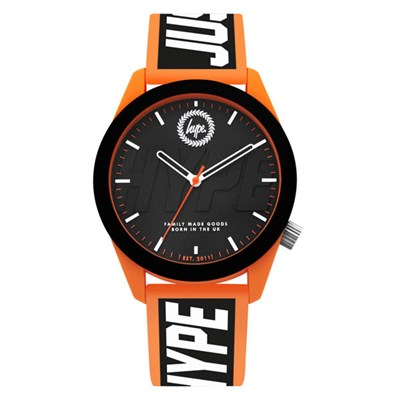 Hype Gents' Black Dial Watch with Black and Orange Silicone Strap