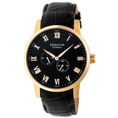 Heritor Gents Romulus Automatic Watch with Genuine Leather Strap with Gift