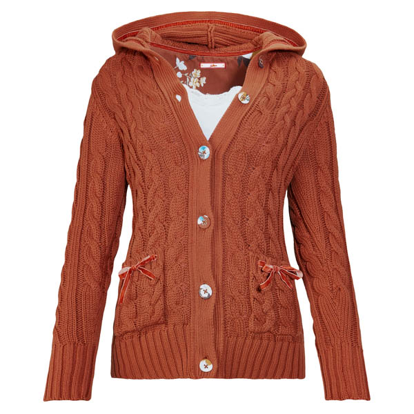 Joe Browns Cable Knit Hooded Top Rust
