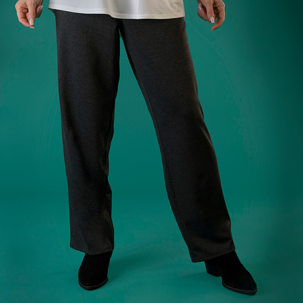Nicole Relaxed Ponte Trouser with Pockets Charcoal