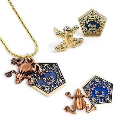 Harry Potter Chocolate Frog Necklace, Earrings and Pin Badge Set Gold Plated