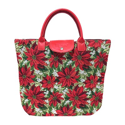 Signare Foldaway Bag - Xmas Poinsettias