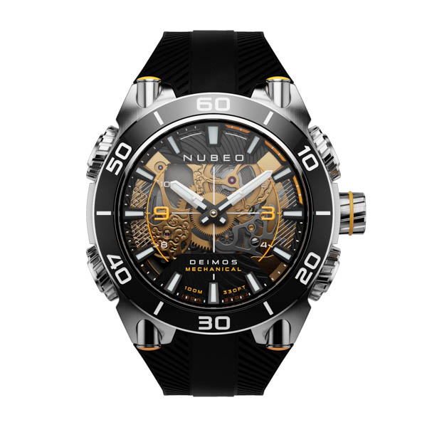 Nubeo Gents Deimos Mechanical Watch on Silicone Strap Black/Silver