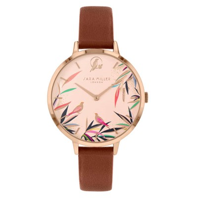 Sara Miller Bamboo Garden Watch with Leather Strap