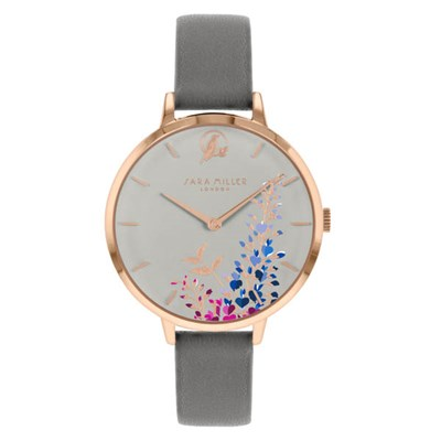 Sara Miller The Wisteria Collection Watch with Leather Strap