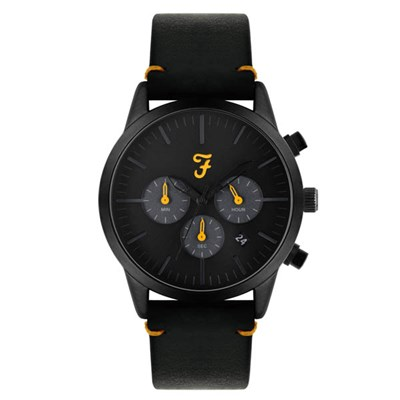 Farah Chrono Watch with Black Genuine Leather Strap