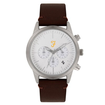 Farah Chrono Watch with Brown Genuine Leather Strap