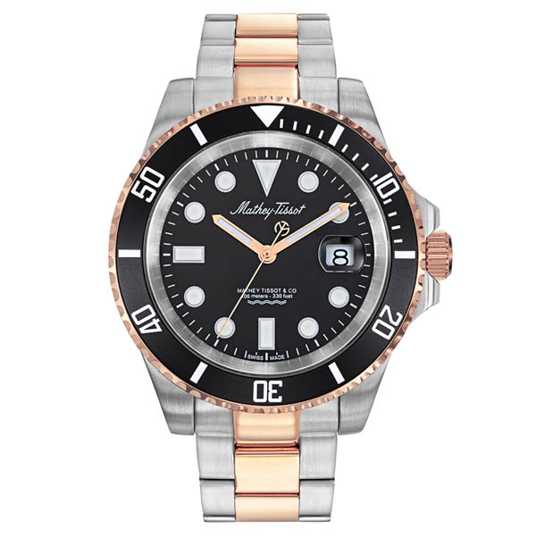 Image of Mathey Tissot Gents Jumbo Gold Rolly Watch on Stainless Steel Bracelet
