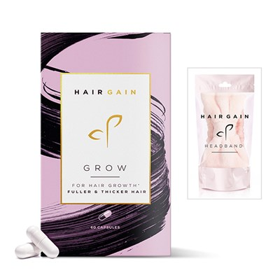 Hair Gain Grow for Hair Growth Fuller & Thicker Hair caps (90 day supply) + Head Band
