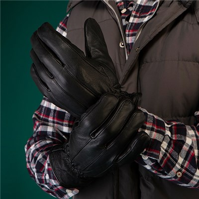 Thomas Calvi Fleece Lined Leather Gloves