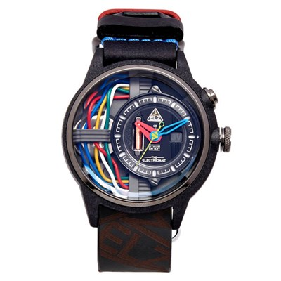The Electricianz Electric Code Carbon Z Watch with Leather Strap