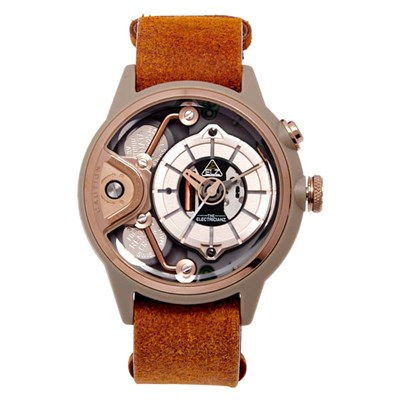 The Electricianz Electric Code Dezert Watch with Leather Nato Strap