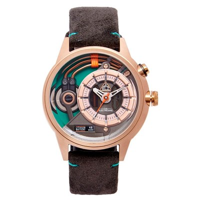 The Electricianz Electric Code Cazino Watch with Textured Suede Leather Strap