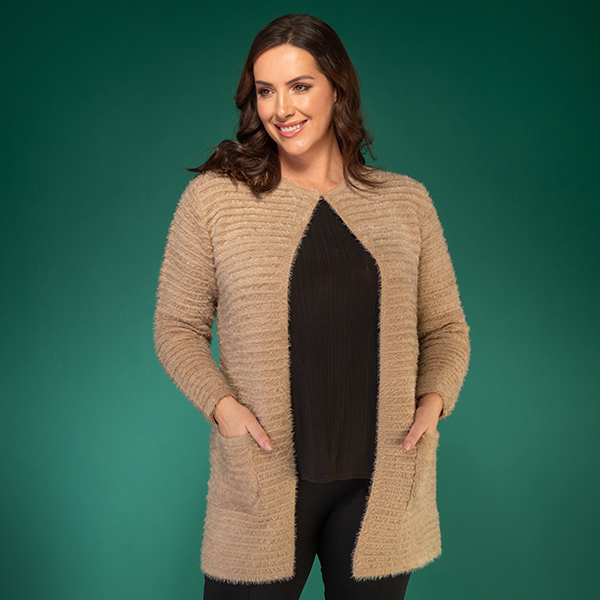 Mudflower Fluffy Cardigan with Pockets Almond