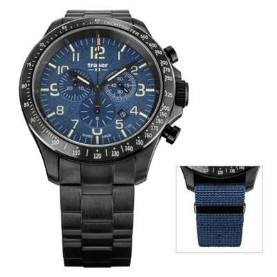 Traser Gents P67 Officer Chronograph Watch with Stainless Steel Bracelet and Extra Strap