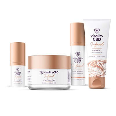 Vitality CBD Glow Skincare Kit - Cleanser, Eye Serum, Face Serum, Anti-Ageing Cream