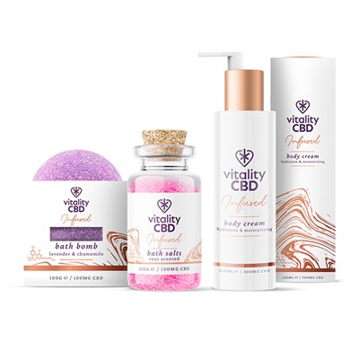 Vitality CBD Bath Kit - Bath Bomb and Body Cream